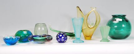 A collection of retro vintage studio art glass to