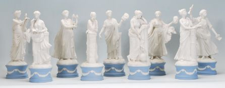 A full set of nine Wedgwood Jasperware figures modelled as The Classical Muses each raised on a