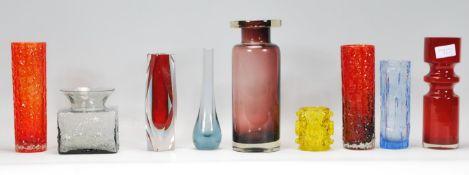 A selection of retro vintage studio art glass to i
