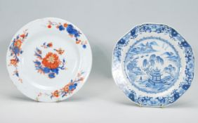 Two 19th Century Chinese plates to include a blue and white plate hand painted with pagodas and