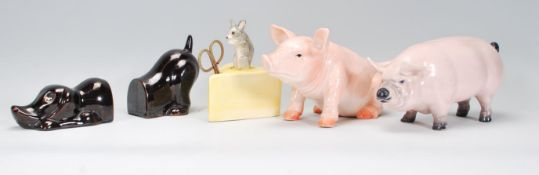 A collection of vintage retro 20th Century ceramics to include a string holder in the form of a