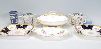 A collection of 19th and early 20th century plates to include Coalport trefoil serving dish,