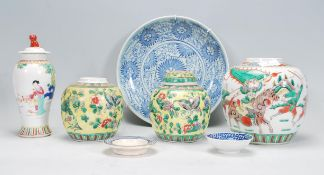 A collection of Chinese ceramics to include bulbou