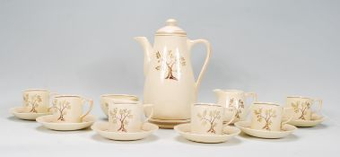 An early 20th Century Art Deco Sam Talbot NRD for Gray's Pottery six person coffee service. The