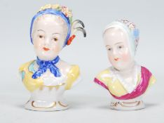 Two late 19th Century Continental Meissen style miniature porcelain busts and shoulders. Each bust