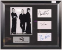 THE JAM - RARE FULL BAND SIGNED AUTOGRAPH DISPLAY