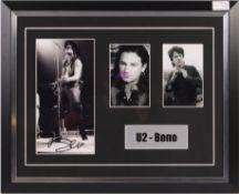 U2 - BONO - SUPERB AUTOGRAPH MONTAGE DISPLAY