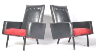 PAIR OF PIERRE GUARICHE MANNER WEDGE ARMCHAIRS