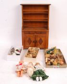 ASSORTED DOLLS HOUSE FURNITURE, DOLLS AND CHINA