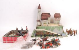 PREWAR BRITAINS WOODEN FORT WITH LEAD SOLDIERS AND