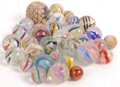 19TH VICTORIAN GLASS MARBLES - ONION SKIN, LATTICI