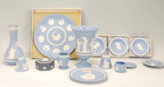 A selection of 20th Century Wedgwood Jasperware ceramics to include a commemorative Christmas 1978