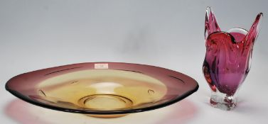 Art Glass - A retro 20th Century oval glass table centrepiece / bowl of cherry and amber colour