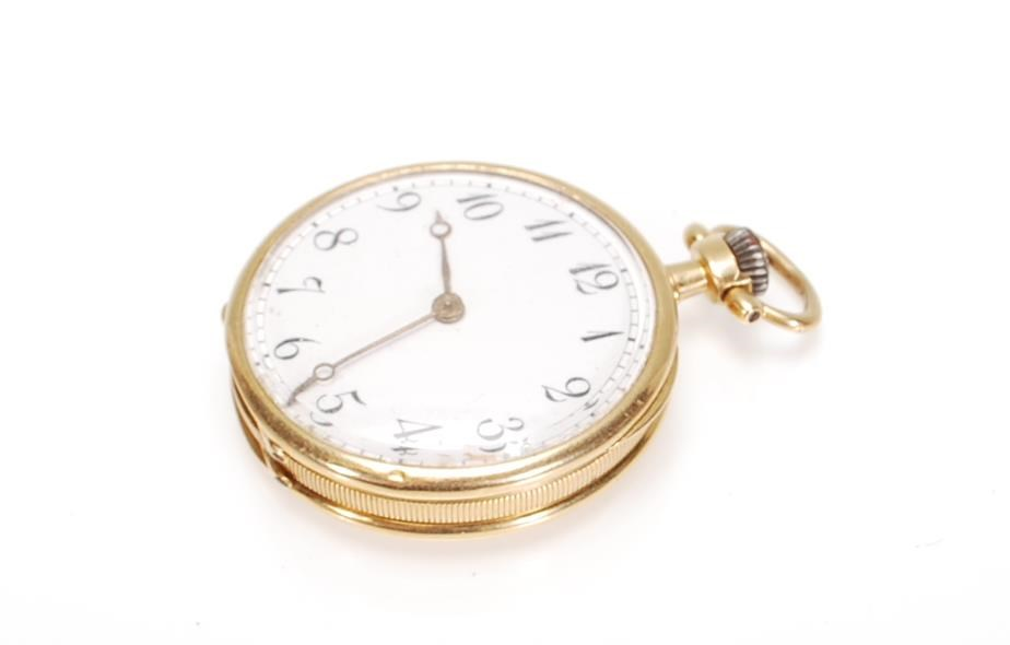 A Stamped 18ct Gold Open Faced Pocket Fob Watch Having A