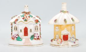 Two 19th Century Victorian Staffordshire pastille burners in the form of cottages to include one