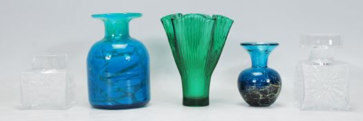 A good collection of mid 20th century vintage glass vases to include two Mdina examples, two