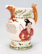 An 20th century Crown Devon John Peel fox hunting musical jug, with relief moulded John Peel
