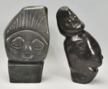 2 20th century African carved stone sculptures li