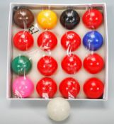 A box of vintage 20th Century snooker balls in the