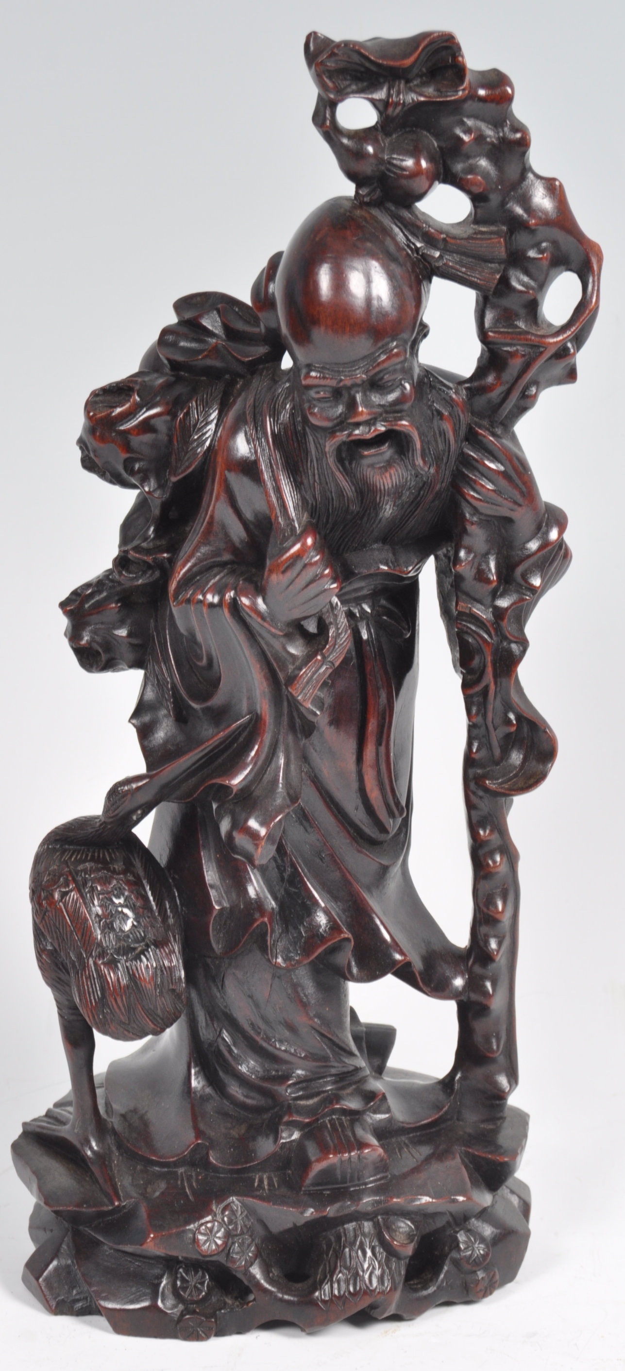 Lot 14 - 19TH CENTURY CHINESE ANTIQUE CARVED HARDWOOD FIGURINE OF SHAO LAO