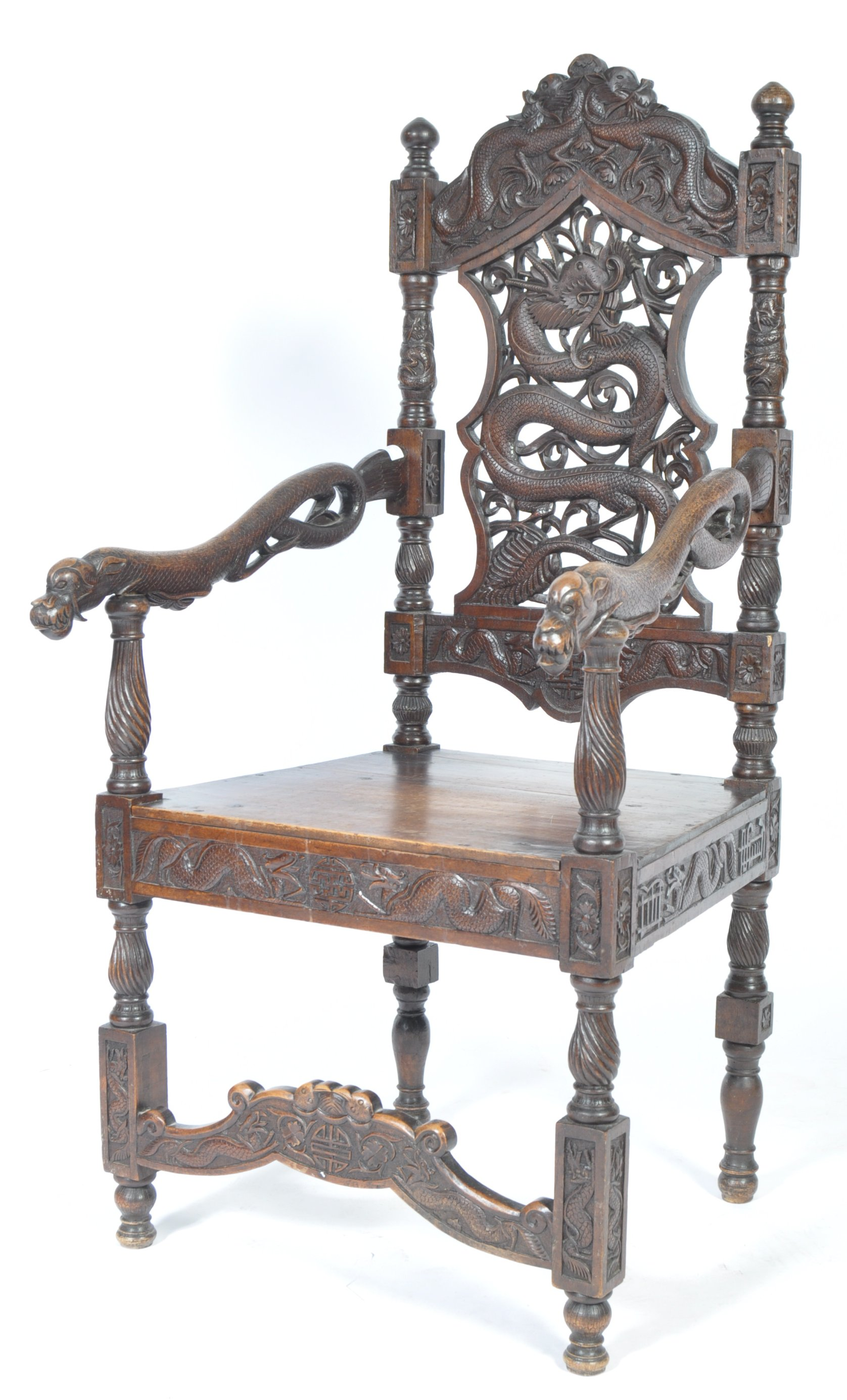 Lot 6 - EARLY 20TH CENTURY ANTIQUE CARVED CHINESE THRONE CHAIR