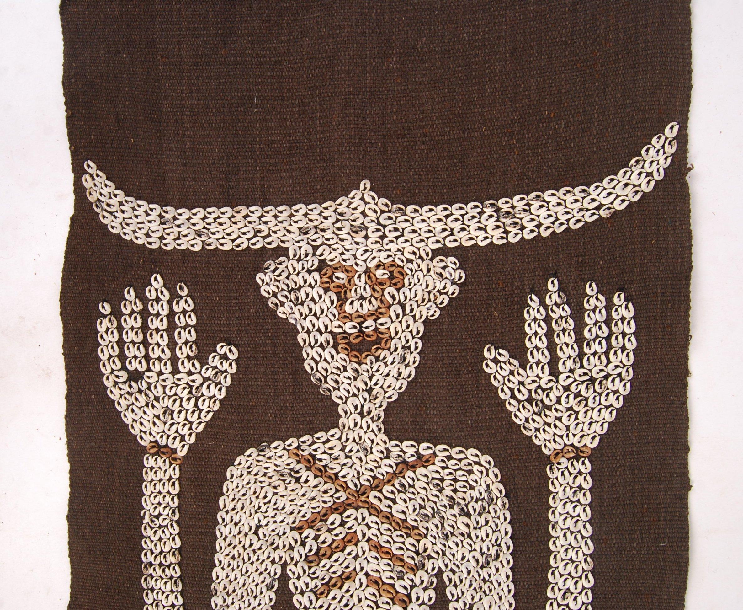 Lot 292 - 20TH CENTURY AFRICAN TRIBAL ART SHELL BEADED CLOTH