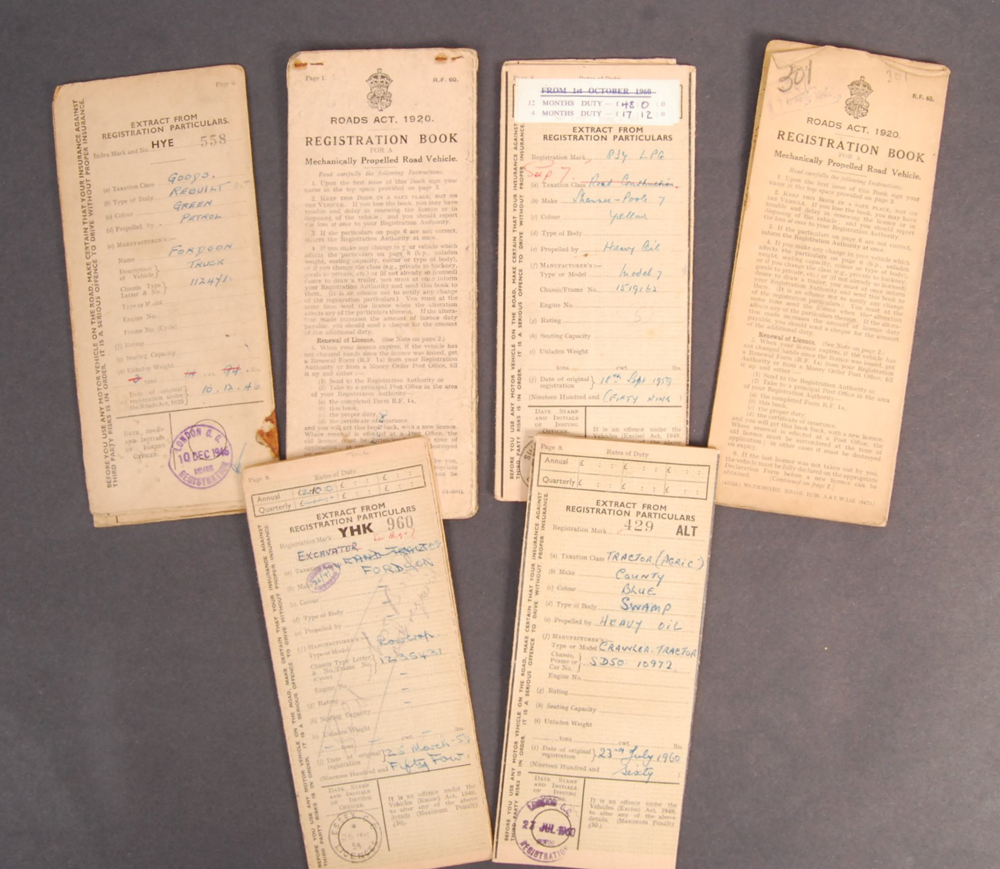 Lot 177 - COLLECTION OF WWII DATED VEHICLE REGISTRATION DOCU