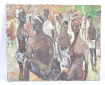 MID-20TH CENTURY OIL ON CANVAS OF AN AFRICAN SCENE