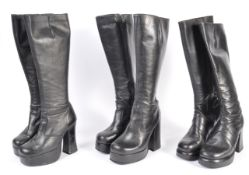 UNIFORM AND FASNCY DRESS - A GROUP OF THREE VINTAGE RETRO BLACK LEATHER GOGO BOOTS.