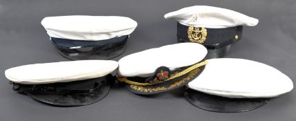 Fancy dress - A group of three genuine British navy sailor and captain nautical peaked caps