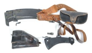 UNIFORM AND FANCY DRESS - A COLLECTION OF GENUINE AND REPLICA WWII LEATHER ITEM.