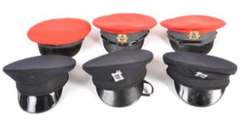 UNIFORM AND FANCY DRESS - A COLLECTION OF SIX MILITARY SERVICE CAPS.