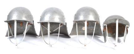 UNIFORMS AND FANCY DRESS - A COLLECTION OF FOUR MEDIEVAL KNIGHTS HELMETS.