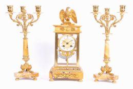 RARE GOLD MARBLE SAMUEL MARTI CLOCK AND GARNITURE