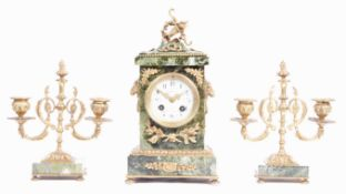 JAPY FRERES FRENCH GREEN MARBLE AND ORMOLU CLOCK A
