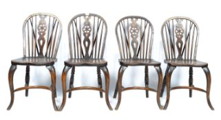 SET OF FOUR BEECH AND ELM WINDSOR KITCHEN DINING C