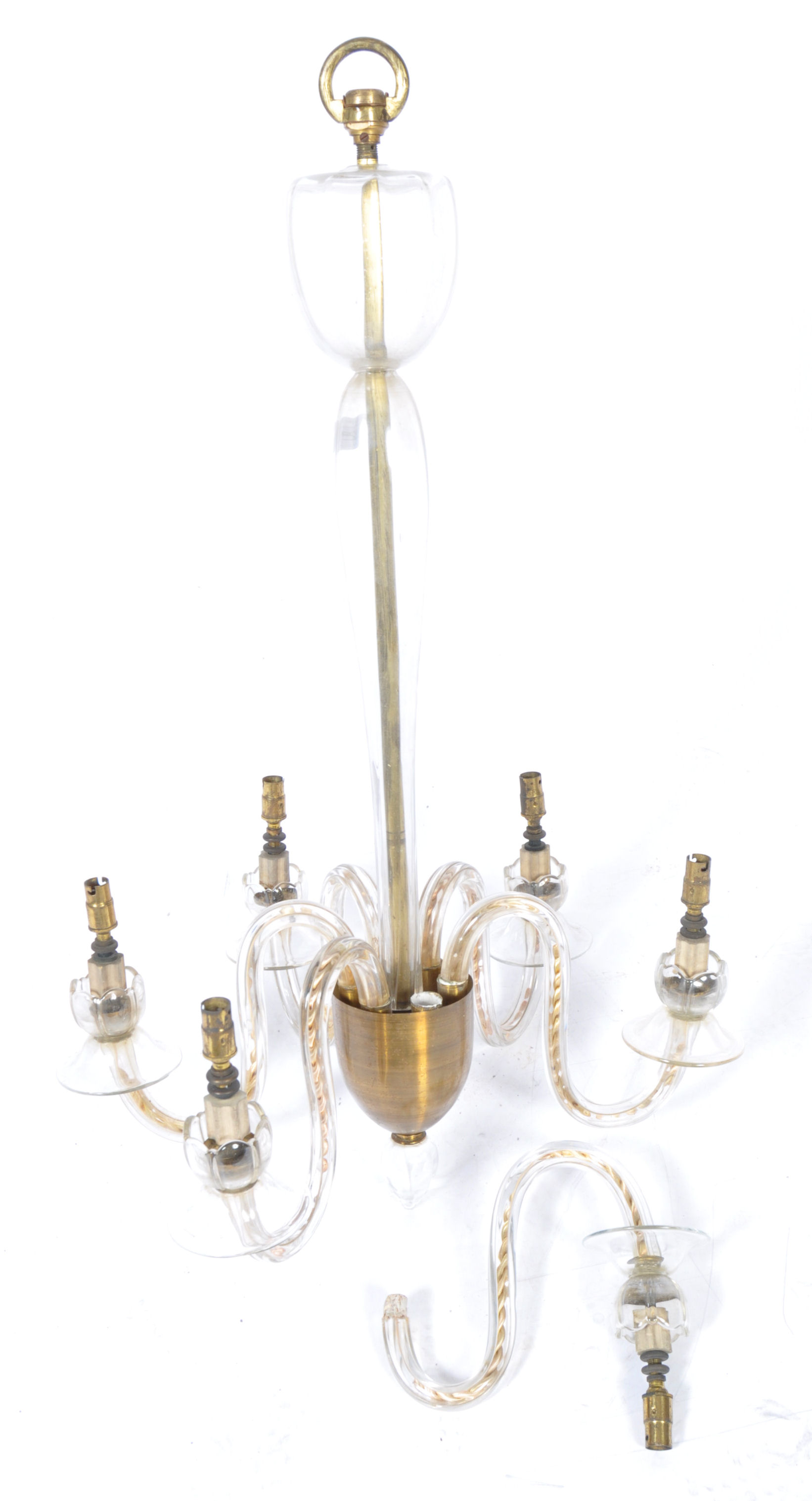 Lot 222 - 19TH CENTURY VICTORIAN BRASS AND GLASS 6 BRANCH CH