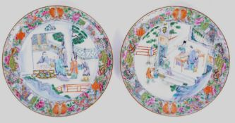 STUNNING PAIR OF ANTIQUE CHINESE PORCELAIN PLATES