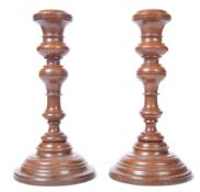 PAIR OF 19TH CENTURY TURNED WOOD TREEN CANDLESTICK