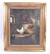 19TH CENTURY OIL ON CANVAS PAINTING OF CHICKENS