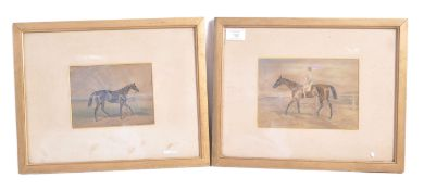PAIR OF EARLY 20TH CENTURY HORSE RACING WATERCOLOU