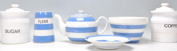 A group of vintage 20th Century Cornish ware ceramics to include a T G Green blue and white
