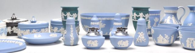 A big group of mostly Wedgwood Jasperware ceramics