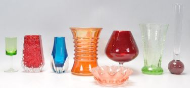 A collection of vintage studio art glass to include a red Whitefriars bark effect vase, Art Deco