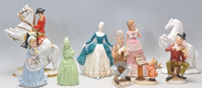 A collection of 20th Century ceramics figurines to include an Austrian Hans Poelzer porcelain
