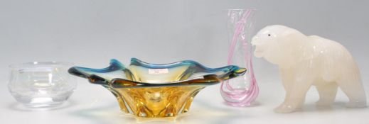 A vintage retro Czechoslovakian Bohemian glass yellow and blue free form bowl together with a