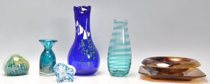 A Collection of retro vintage 20th Century studio art glass to include a Mdina blue swirl glass vase