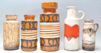 A group of five vintage retro mid 20th Century West German pottery vases to include a fat lava