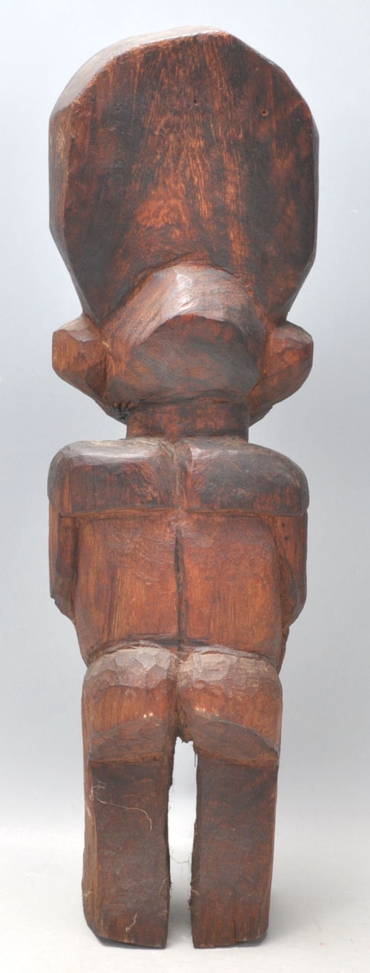 Los 363 - An African tribal fertility figurine having a large round stylised head dress, possibly Nigerian,...