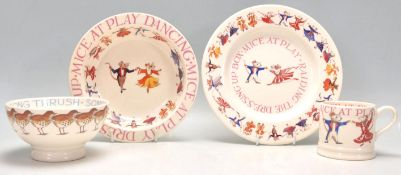 Three Emma Bridgewater table wares in the Dancing Mice to include a small plate, bowl and mug.